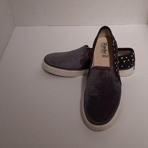 Keds Double Decker Velvet/Denim Slip On Sneakers